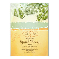 Beach Bridal shower invitation Vintage Tropical