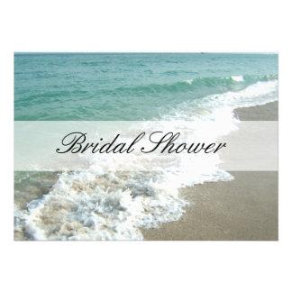 Beach Bridal Shower Invitations, Aqua Blue/White