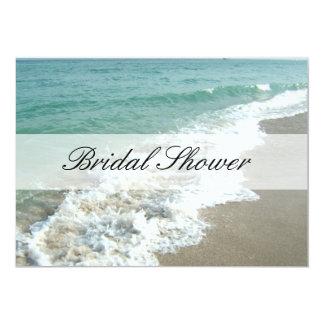 Beach Bridal Shower Invitations, Aqua Blue/White Card