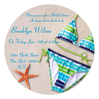 "Beach Bridal Shower Invitations Bikini Starfish 5.25"" Square Invitation Card"