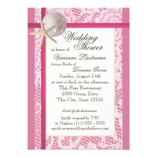 Beach Bridal Shower Pink Invitation