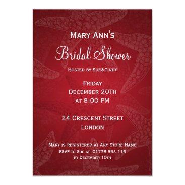Beach Themed Beach Bridal Shower Starfish Red Card