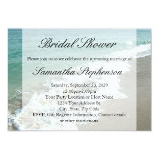 """Beach Bridal Shower, White Ocean Surf 5"""" X 7"""" Invitation Card"""