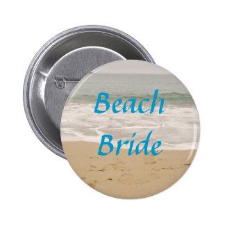 Beach Bride Button:  Ocean Tide Version Pinback Button