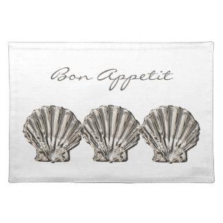 "Beach brown white ""bon appetit"" shell place mats"