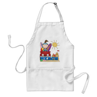 BEACH Brunette Girl T-shirts and Gifts Adult Apron