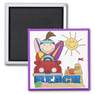 BEACH Brunette Girl T-shirts and Gifts Magnet