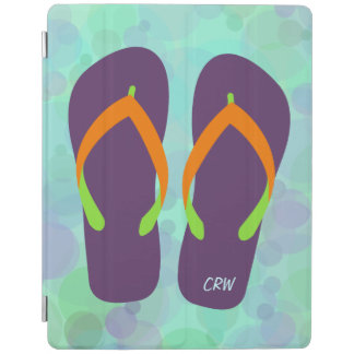 Beach Bubbles and Flip Flops Optional Initials iPad Cover