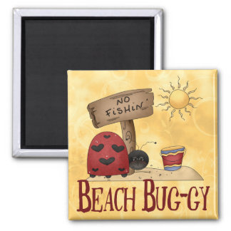 Beach Bug-gy 2 Inch Square Magnet
