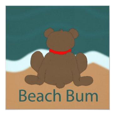 Beach Themed Beach Bum Bear Card