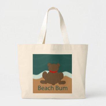 Beach Themed Beach Bum Bear Large Tote Bag