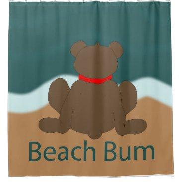 Beach Themed Beach Bum Bear Shower Curtain