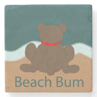 Beach Themed Beach Bum Bear Stone Coaster