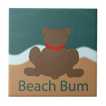 Beach Themed Beach Bum Bear Tile