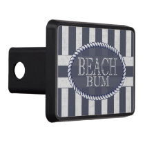 Beach Bum Bold Nautical Stripes with Monogram Hitch Cover