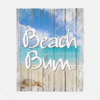 Beach Bum ~ Coastal sign, beach fleece blanket