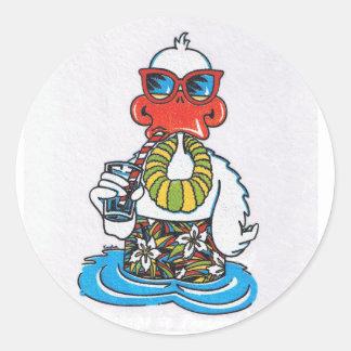 Beach Bum Duck Classic Round Sticker