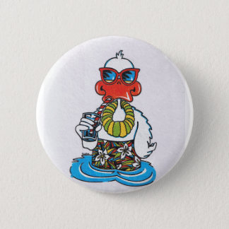 Beach Bum Duck Pinback Button