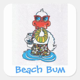 Beach Bum Duck Square Sticker
