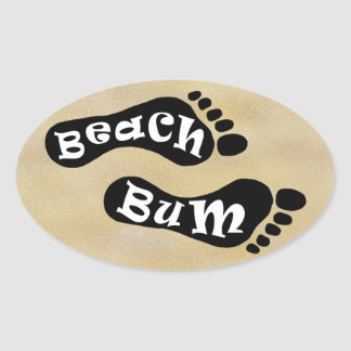 Beach Bum Footprint on Sand Stickers