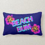 Beach Bum Hibiscus Flower Blue Pillow