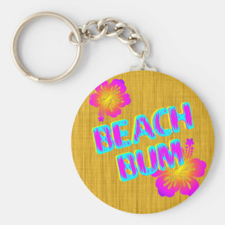 Beach Bum Hibiscus Flower Pink and Teal Keychain