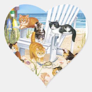 Beach Bum Kittens Heart Stickers