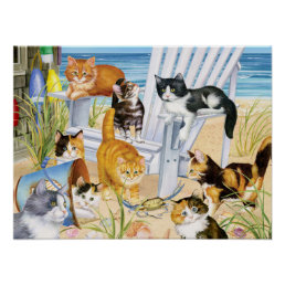 Beach Bum Kittens Poster