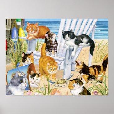 Beach Themed Beach Bum Kittens Poster