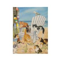 Beach Bum Kittens Wood Poster