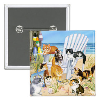 Beach Bum Kitties! Button