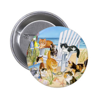 Beach Bum Kitties! Pinback Button