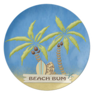 Beach Bum,  Palm Trees and Surfboards Dinner Plate