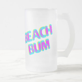 Beach Bum Saying Pink and Teal 16 Oz Frosted Glass Beer Mug