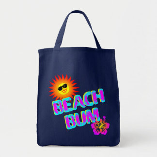Beach Bum Saying with Sunshine Canvas Tote