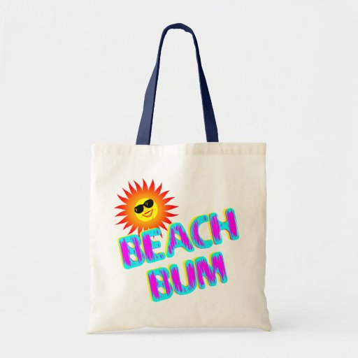 Beach Bum Saying with Sunshine Canvas Tote Bag