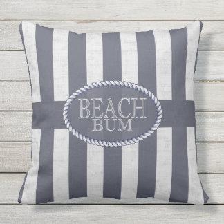 Beach Bum Seas the Day Blue and White Nautical Outdoor Pillow