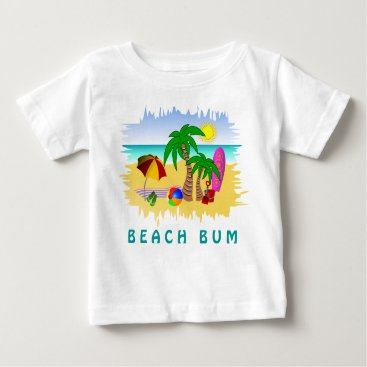 Toddler & Baby themed Beach Bum Sun Sea and Surf Fun Colorful Baby Tee