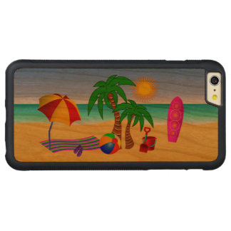Beach Bum Sun Sea Surf Scene Wood iPhone 6 6S Plus Carved Cherry iPhone 6 Plus Bumper Case