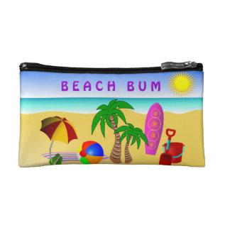 Beach Bum Sun Sea Surf Small Cosmetic Bag at Zazzle