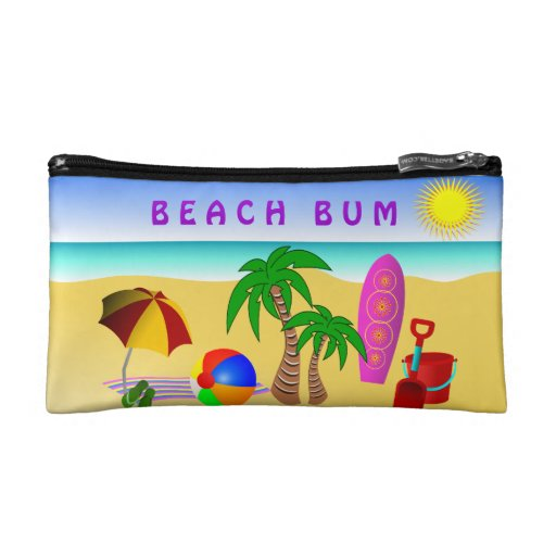 Beach Bum Sun Sea Surf Small Cosmetic Bag Makeup Bags