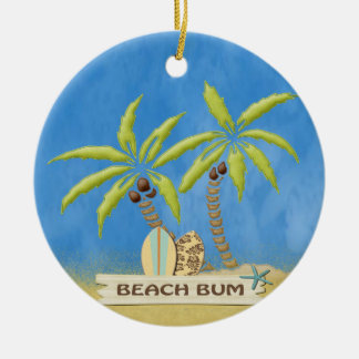 Beach Bum, Surfboards, Palm Trees and Sand Ceramic Ornament