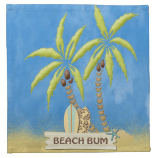 Beach Bum, Surfboards, Palm Trees and Sand Cloth Napkin