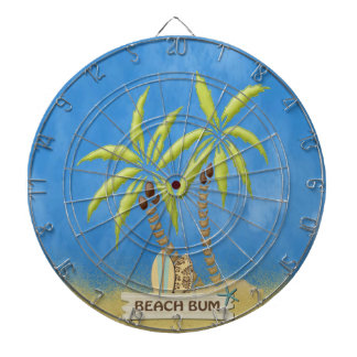 Beach Bum, Surfboards, Palm Trees and Sand Dart Board