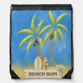 Beach Bum, Surfboards, Palm Trees and Sand Drawstring Bag