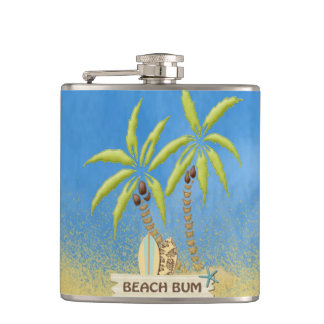 Beach Bum, Surfboards, Palm Trees and Sand Hip Flask