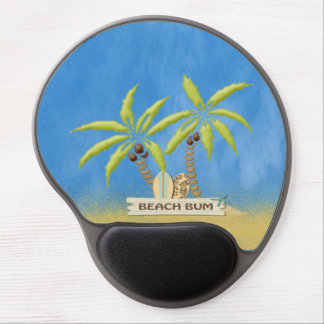 Beach Bum, Surfboards, Palm Trees and Sand Gel Mouse Pad