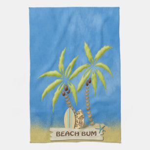 Beach Surfboards Palm Trees And Sand Hand Towel