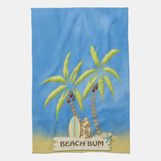 Beach Bum, Surfboards, Palm Trees and Sand Hand Towel