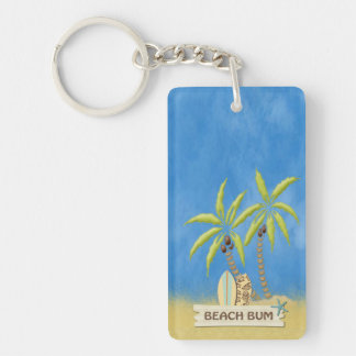 Beach Bum, Surfboards, Palm Trees and Sand Keychain